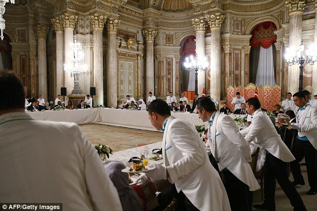 Silver service: As well as his White Palace, Erdogan has use of Istanbul's Dolmabahce Palace, for the leaders attending the 13th Organization of Islamic Cooperation (OIC) Summit