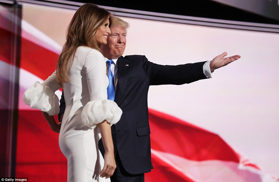 The presumptive Republican nominee showed off his wife to the crowd before she spoke, and insisted her husband is the right man to be in the White House