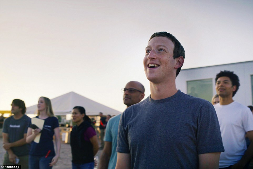 Facebook CEO, Mark Zuckerberg, watches Aquila's successful test flight.The plane has been designed to fly for up to three months at a time, and has a wingspan bigger than that of a Boeing 737