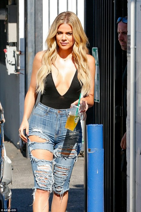 Sultry in the city: The 32-year-old reality star stayed hydrated with a green iced tea