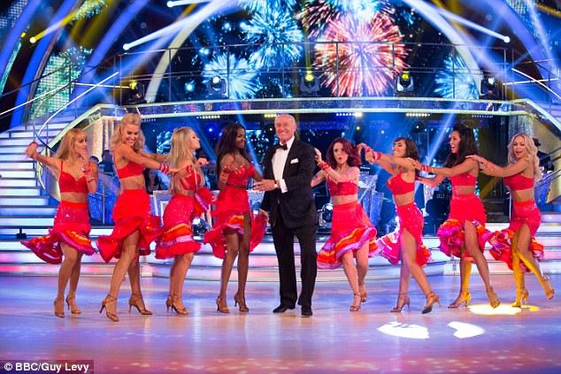 Dancers, from left:Aliona Vilani, Natalie Lowe, Ola Jordan, Otlile Mabuse, Len Goodman, Joanne Clifton, Janette Manrara, Karen Hauer and Kristina Rihanof