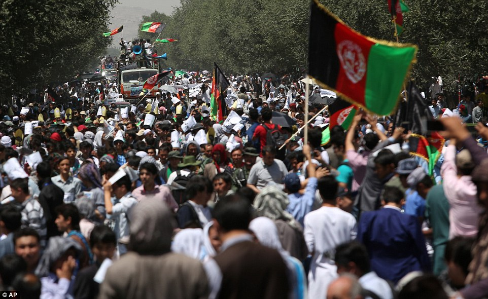 Thousands of people took to the streets despite warnings by Afghan officials that ISIS would want to attack the march