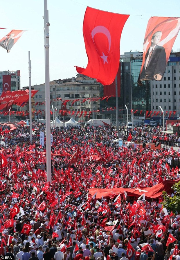 Secular supporters of main opposition Republic Public Party shouted slogans and waved flags as they marched. More than 13,000 people have been detained since the coup