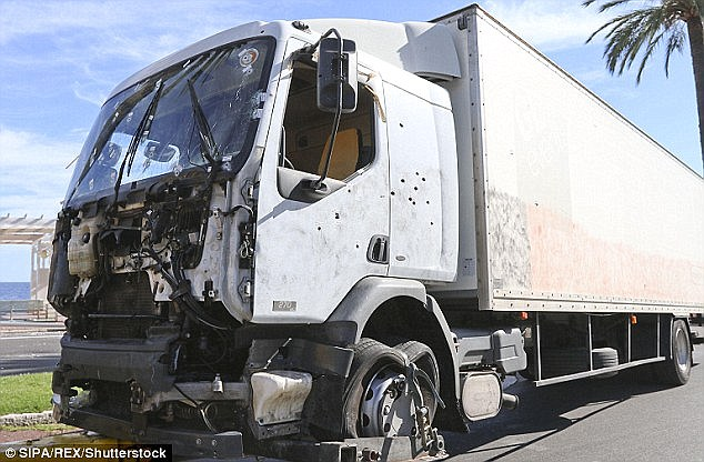 Eighty-four people were killed and hundreds injured when a 31-year-old Tunisian man with a record of domestic violence and petty crimes drove a truck (pictured) through a Bastille Day crowd in the southern French city