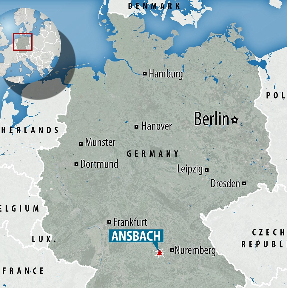 The explosion took place in the city of Ansbach, Germany - close to a busy music festival
