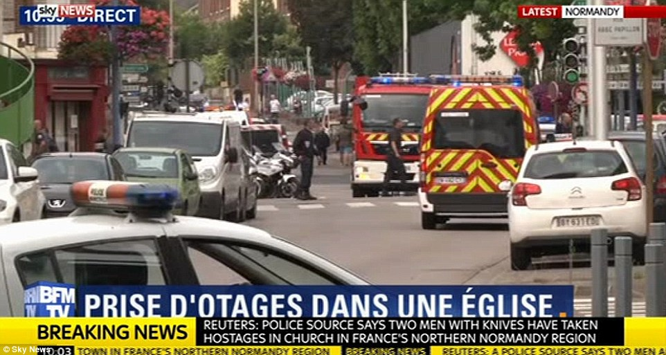 Between four and six people were being held by the assailants in Saint-Etienne-du-Rouvray, near the city of Rouen