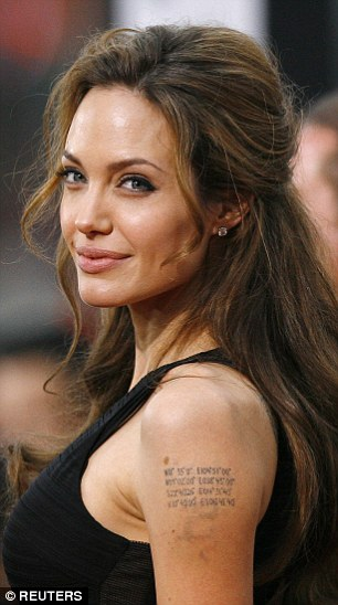 By 2002, the ink had been erased by laser. Jolie said: 'I've moved on — that's why it's going.'