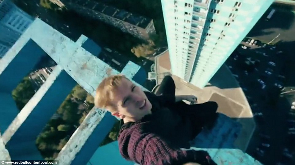Now that's a selfie! You can quite clearly hear the wind howling as the Russian daredevil snaps that top shot