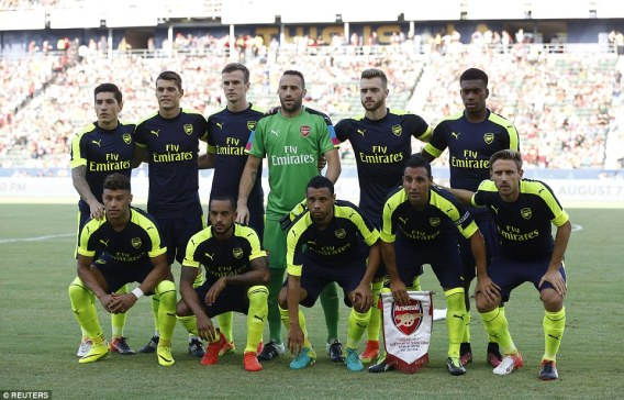 Wenger named an experienced line-up and gave Granit Xhaka (top row, second left) his full debut