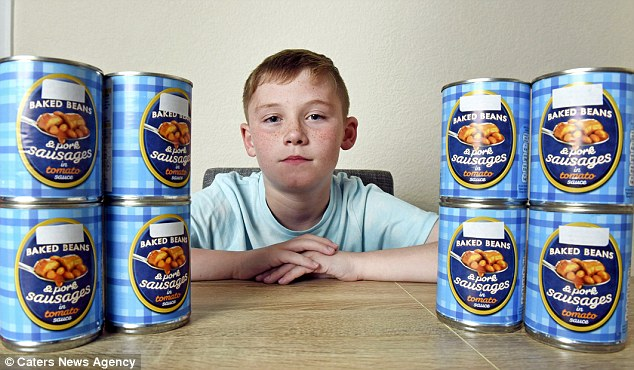 Tyler Hives, 11, ate nothing but tinned sausages and beans for years, but his mother claims he has finally been cured by hypnotherapy