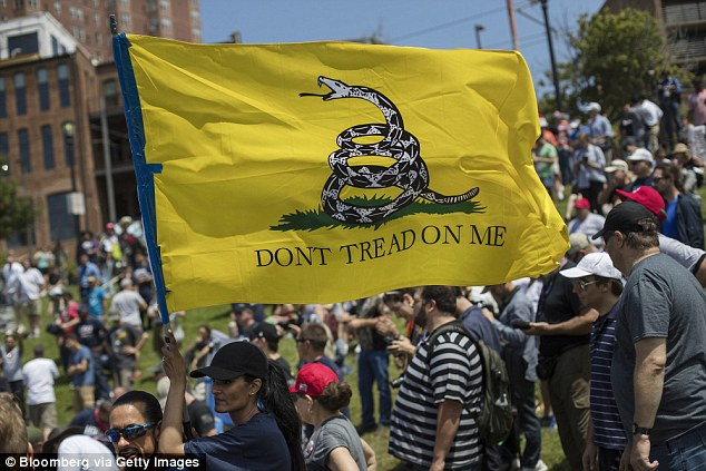 A supporter of Donald Trump, presumptive 2016 Republican presidential nominee, holds a 'Don't Tread On Me' flag while rallying at Settlers Landing during the Republican National Convention in Cleveland last month