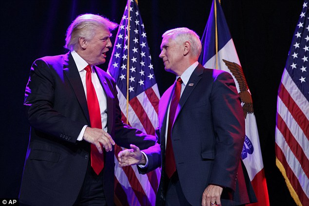DYNAMIC DUO? Trump and his vice presidential running make Mike Pence, the governor of Indiana, appeared together in Des Moines, Iowa on Friday
