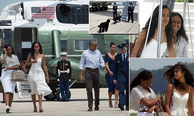 The tarmac's their runway! Malia and Sasha are a vision in summer whites as they head to
