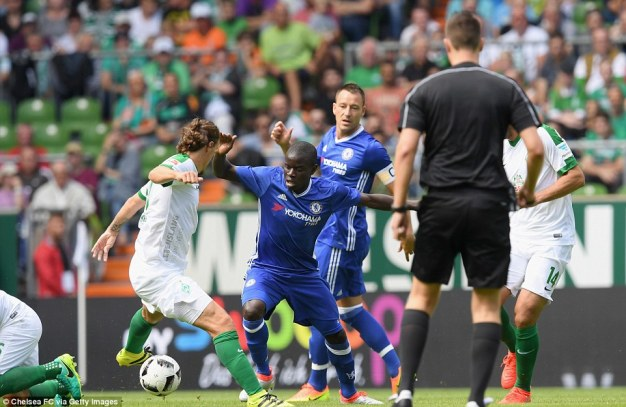 N'Golo Kante, who started his first game for Chelsea, battling for possession with Werder Bremen's Max Kruse