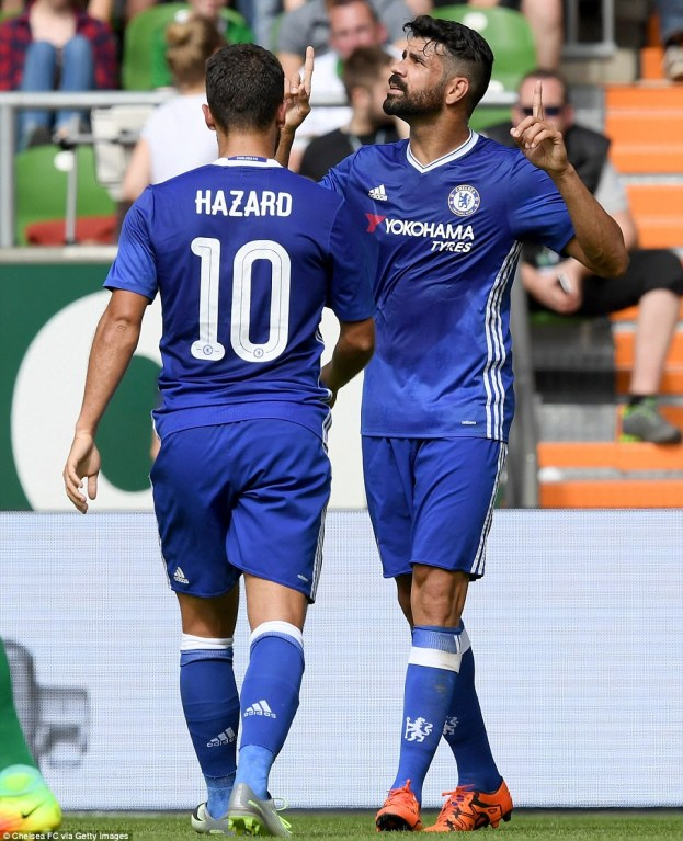 Diego Costa celebrating Chelsea's third goal of the game with the provider Eden Hazard
