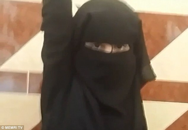 Afterwards she punches her fist in the air, as if to celebrate shuouting Allahu Akbar