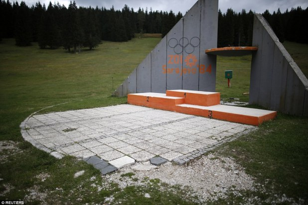 The Olympics podium used to award skiers with their medals at the 1984 Sarajevo Winter Olympics on Mount Igman in Bosnia and Herzegovina, has been reduced to rubble over the decades