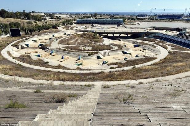 Grass and weeds has begun to grow between the stands at the Athens Canoe and Slalom Centre at the Hellinikon Olympic complex