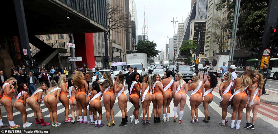 The 27 finalists of the Miss BumBum competition were out in force yesterday as they took to the streets of Sao Paulo in Brazil to promote this year's competition