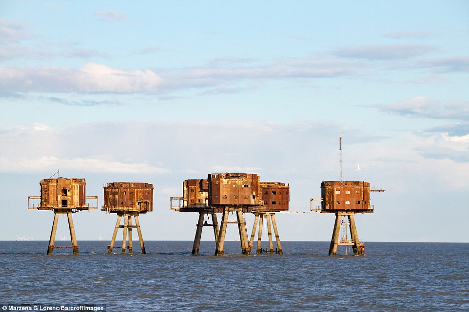 Three sets of Maunsell Forts were built in the Estuary - the Nore forts off the coast of Sheerness, which have now been demolished, and the Red Sands and Shivering Sands forts further out