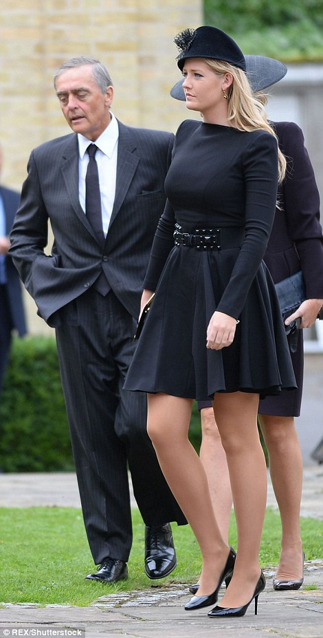 Hugh's father and his younger sister, Lady Viola, 23, at the funeral of Hugh Van Cutsem in Brentwood in 2013
