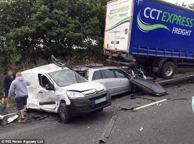 Shocking: A total of four cars and four lorries were involved in the collision on the A34 on August 10