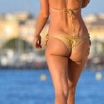 Beach Babe: Kimberley Garner In A Gold Bikini