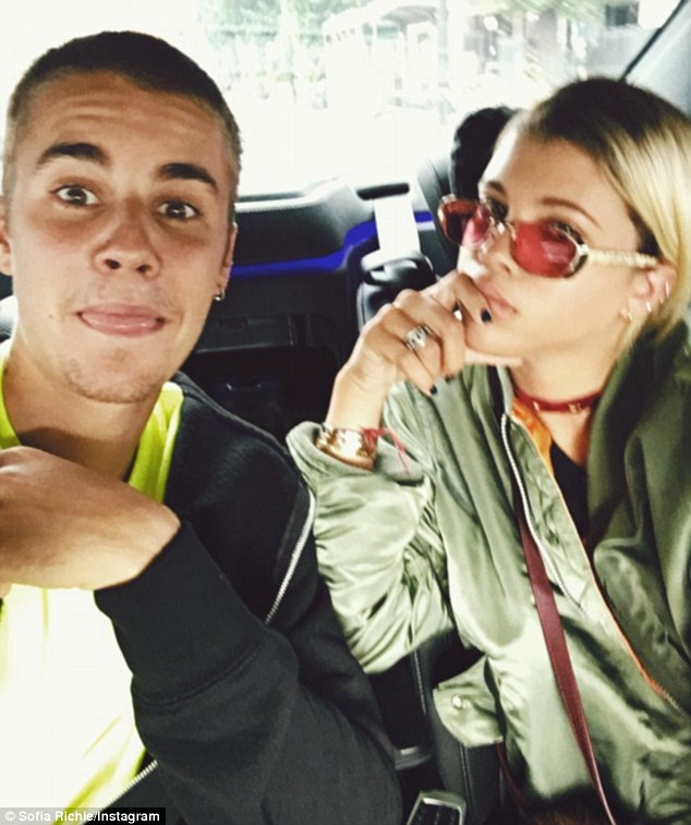 Strike a pose: Bieber stuck out his tongue in a snap shared by Richie on Saturday