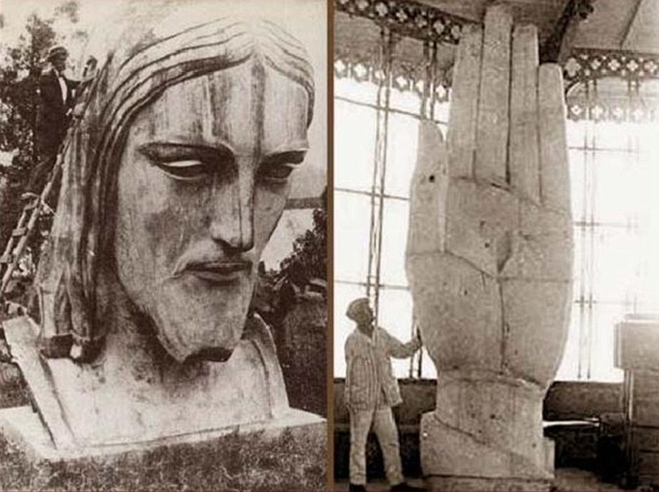 The face under construction (left) as well as the giant hands - shown as three times the height of an adult (right)