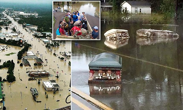 Louisiana flooding produces eerie image of caskets floating down street
