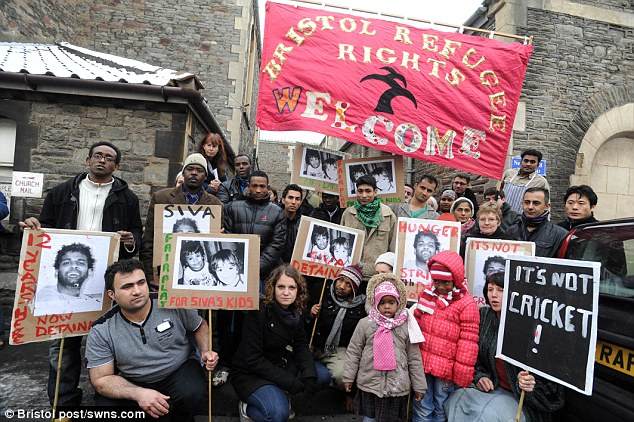 Sri Lankan-born Suganthan spent 37 days in a detention centre before being allowed to remain in the UK. It followed a public campaign (pictured are protesters in Bristol in 2010)