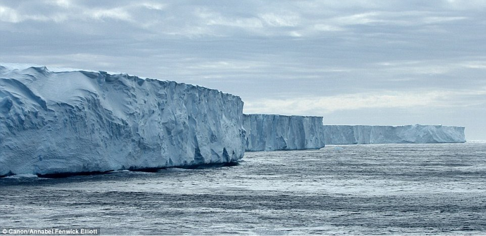 Tablet glaciers reach into the distance in Antarctica, in the circumpolar current just north of the South Shetland Islands