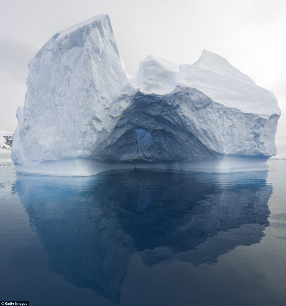 A dry dock formation, its melting ice sculpted by waves and floating in calm seas around the Gerlache Passage, Antarctica