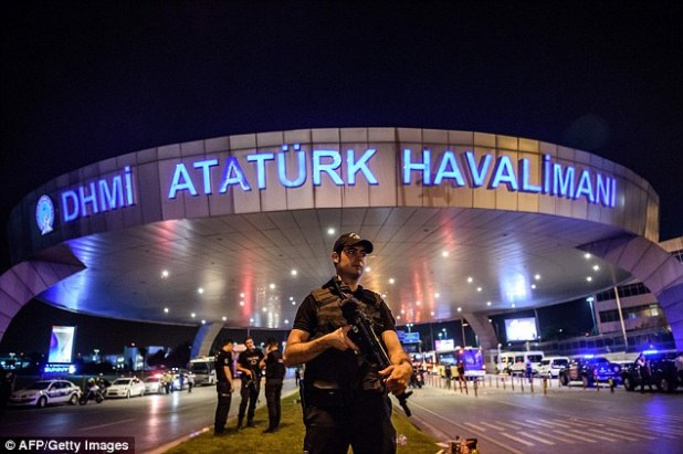 The ad appears at Ataturk Airport in Istanbul which was a focal point of last month's coup