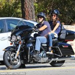 George Clooney & Wife,Amal Don Matching Outfits On His Motorbike