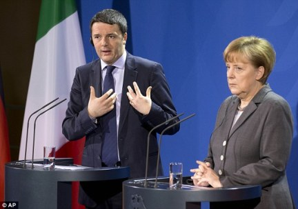 Italian Prime Minister Matteo Renzi (pictured left) will meet German Chancellor Angela Merkel (right) and French President Francois Hollande on the island of Ventotene, off the coast of Naples, for crucial talks about post-Brexit Europe today