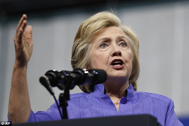The search engine altered an algorithm to prevent searches for 'Clinton body count' from auto-completing, a report claims (pictured is Hillary Clinton in Scranton last week)