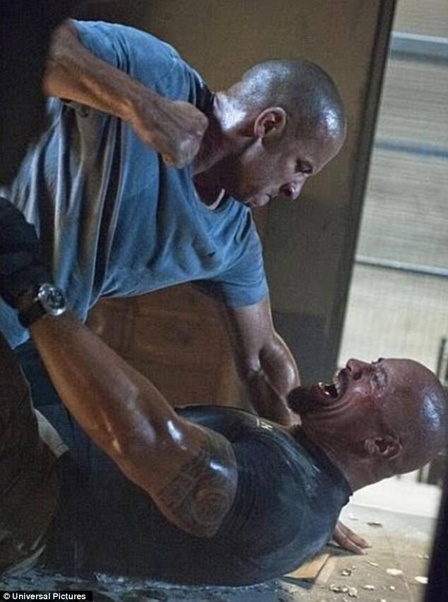 Head to head: Dwayne portrayed DSS agent Luke Hobbs in Fast Five, Fast & Furious 6, Furious 7, and The Fate of the Furious (pictured) as well as the spin-off Hobbs & Shaw