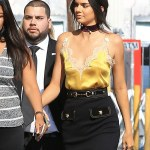 Kendall Jenner Dons lacy Gold Nightie Top In Hollywood