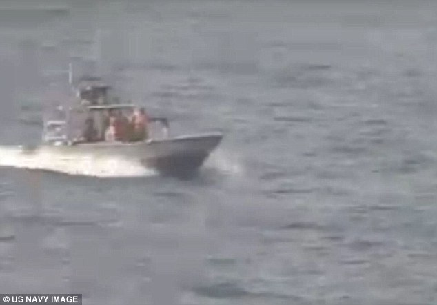 Officials say the figures are on course to increase by more than 50 per cent before the end of the year, despite the nuclear deal (pictured, an Iranian boat approaches the Nitze)