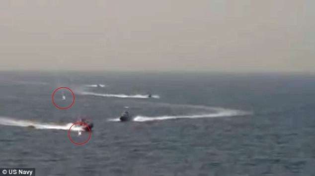 Defense officials say there were 30 dangerous confrontations between the US and Iranian navies in 2015, compared to 26 in the first six months of 2016 (pictured, the USS Nitze fires flares at two Iranian vessels earlier this week)