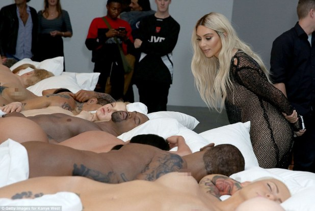 Kanye West held a secret art exhibit on Friday in Los Angeles, which showed off his naked celebrity replicas from his music video for the song 'Famous'