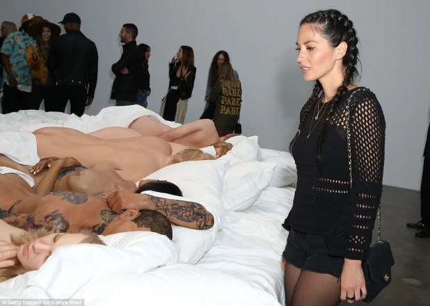 Actress Olivia Munn (pictured, right) came out on Friday night to view the Los Angeles exhibit displayed at Blum and Poe