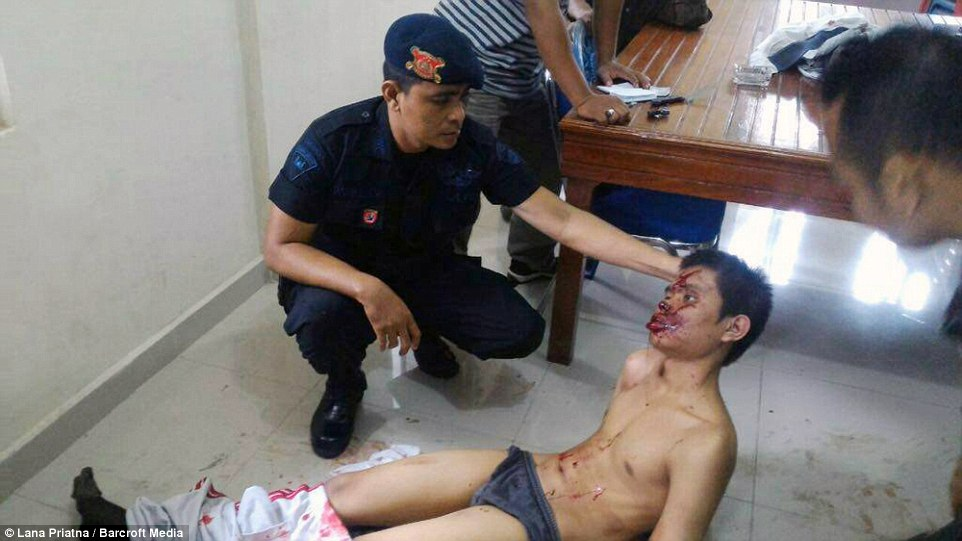 A knife-wielding man stabbed a Catholic priest and tried to set off an explosive device at a church in Indonesia today