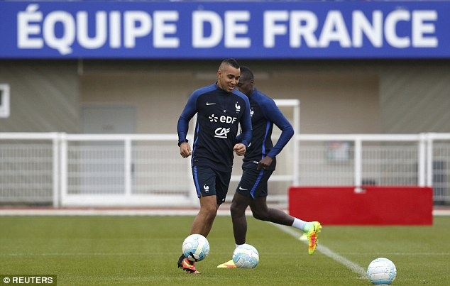 West Ham playmaker Payet runs with the ball at his feet during the France training session