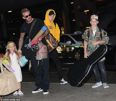 Meet the Beckhams:Victoria was also joined by her husband David, 43 and their other children, Harper, five,Brooklyn, 17 and Cruz, 11 for the journey