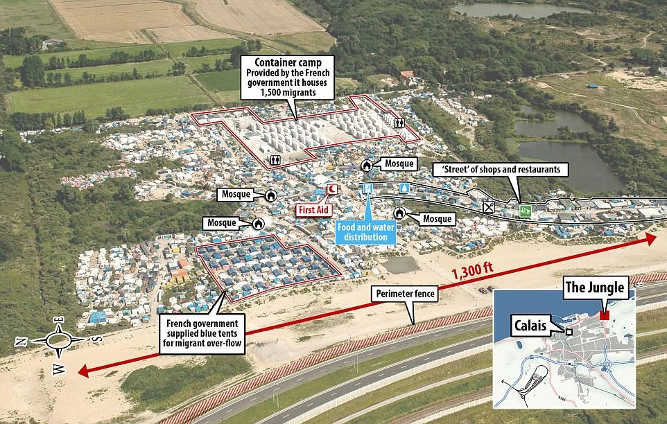 Una foto aérea muestra cómo el extenso campamento 'Jungle' en Calais, al norte de Francia, es ahora lo suficientemente grande como para albergar a 10.000 refugiados