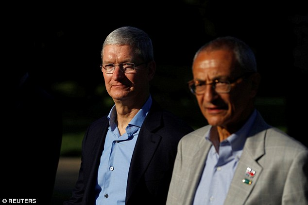 In the firing line: Tim Cook, Apple's chief executive, Hillary Clinton campaign chairman John Podesta last week, has previously called the investigation 'political crap' and has said his company will appeal against any ruling.