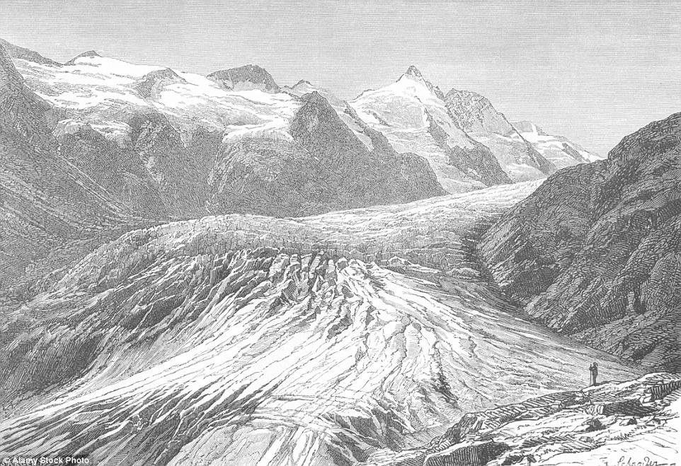 Questa stampa dal 1885 mostra ciò che il ghiacciaio Pasterze in Austria una volta sembrava.  La valle era una volta coperto di ghiaccio spessa che a terra la sua strada giù per la valle