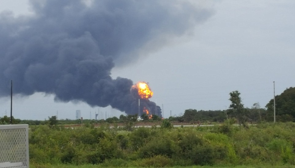 The air quality was being monitored for any potential threats to employees at the space center, as black smoke fills the sky.The rocket was due to launch Amos-6,Facebook's first satellite, which has been in development since 2015, and would have provided large parts of East, West and South Africa with web access.